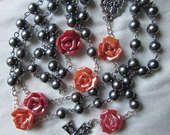 Gray and Coral Rosary 8mm