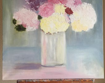 Still life of hydrangeas. These flowers were freshly picked, and painted from my studio. This painting captures the feel of summer.