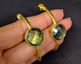 ESHQROCK RAAT Labradorite Hoop Earrings 22k Gold Plated Brass