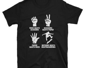 Skateboarding Shirt Mom Gift - Rock Paper Nothing Beats - T-Shirt