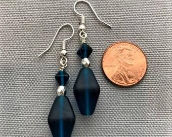 Dark Cyan Glass Bead Earrings
