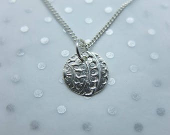 Handmade Silver Mehndi Circular Pendant
