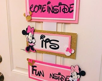 Come Inside its Fun inside Minnie Mouse welcome sign, Minnie Mouse Birthday decorations