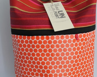 orange lozenges coated cotton shopping bag