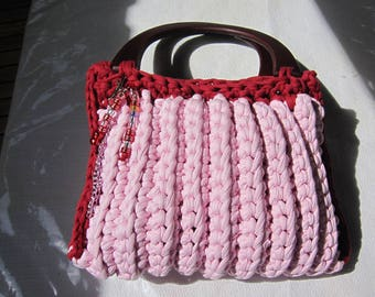 bag, violet and pink and Red