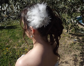 Spike hair feathers and rhinestones for Bohemian bride or retro chic