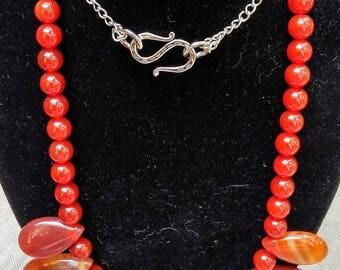 Carnelian Teardrop Pendant Necklace