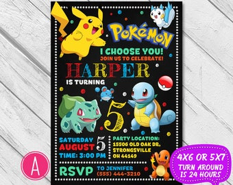 Pokemon Invitation, Pokemon birthday, Pokemon party, Pokemon birthday invitation, Pokemon twins invite, Joint invitation, Pikachu, Printable