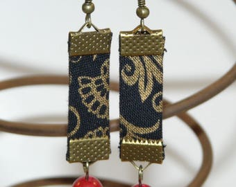 Black and gold fabric earrings