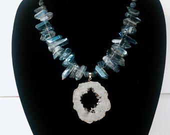 Silver Aqua Crystalline Necklace with Druzy Quartz Center Piece