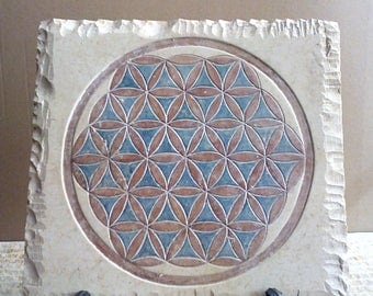 Flower of Life , Ancient Egypt , Limestone , handmade product , authentic .