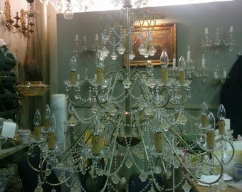 Italian 18 Arm Chandelier With Venetian Murano Glass and Swarovski Crystals