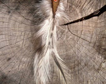 single earring feathers suede Crystal