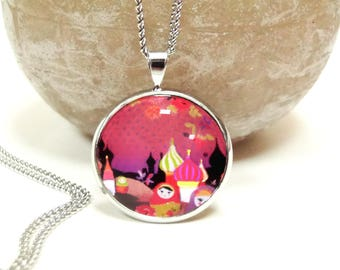 Russian dolls pink pendant cabochon necklace
