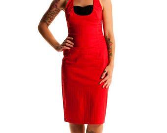 Lady Luck Halter Wiggle Dress - Red Black 1950's Rockabilly Pinup Dress