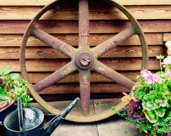 Vintage Large Cast Iron Wheel - Farm - Industrial Garden Feature