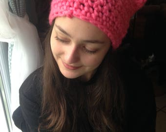 PUSSY HAT / bonnet pink/lesgrainesdamour/Hat ears of cat/kitty Hat / beanie hat pussy / pink kitty beanie/women gift
