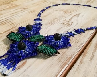Blue Huichol beaded necklace