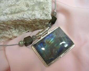 Labradorite stone pendant on cable - OOAK necklace