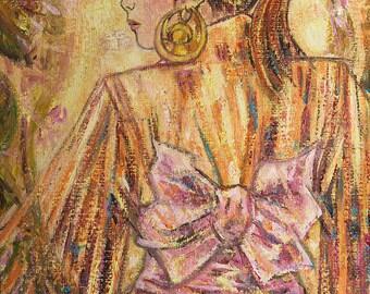 Intense caress - original painting of Japanese inspiration