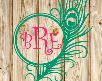 Feather Monogram Decal