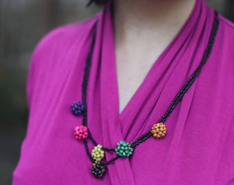 Multicolored Beaded Flower Ball Necklace