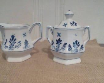 Vintage creamer and sugar dish set