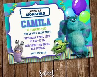 Monsters Inc. Invitation, Digital Printable Invite, Monsters Inc Birthday Party, Monsters Inc Customizable Card, Kids Birthday, SI-0029