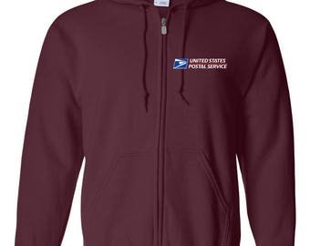USPS Maroon Full Zipped Postal Hoodie - All sizes available!
