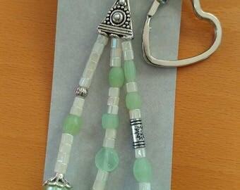 Green pearl white keychain