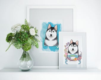 Husky Customized Dog Art Prints | Two For The Price of One | Free Shipping USA
