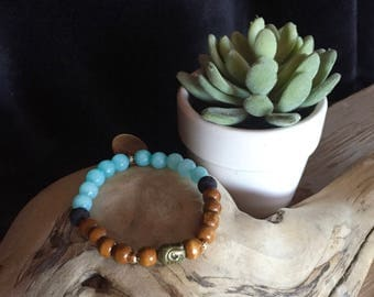 Stretch Diffuser Bracelet: Wood and Agate