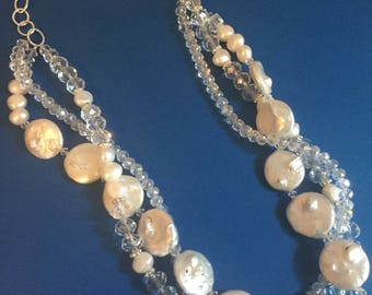 Beach Girls-Pearl and Crystal Multi-strand Necklace
