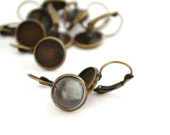 Bronze color 2 Stud Earrings with 12mm glass cabochon