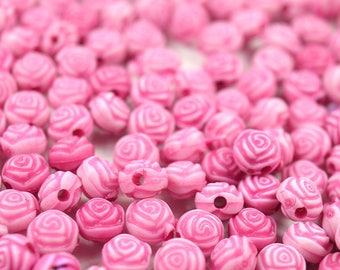50 pcs of Pink Beads Pink Flowers Acrylic Girls, Assorted Colors Approx 7mm
