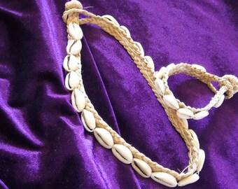 Cowrie Shells on Natural Hand Woven Hemp Bohemian Choker and Bracelet Set