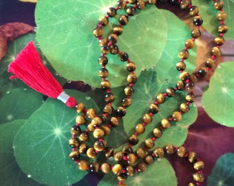 tiger eye mala necklace