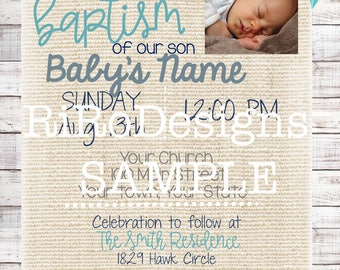 Farmhouse Baptism Invitation Baby Boy