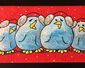 BRRRDIES ~ Whimsical Bird Art w Personality ~ Christmas Birds ~ Joyful Art ~ Cheerful Gift ~ Unique Custom Birds ~ LimbBirds