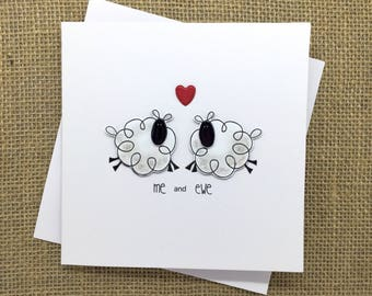 Handmade Anniversary/Valentines card - Cute sheep Couple - Ewe and Me (For: Him, Her, Boyfriend, Girlfriend, Animal lovers)