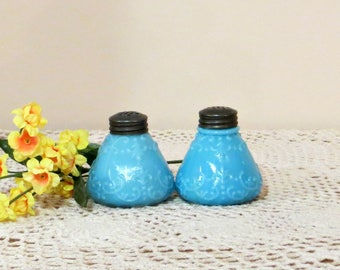 Blue Milk Glass Salt and Pepper Shakers with Threaded Tin Lids Robins Egg Blue Scroll Pattern Vintage Molded Glass Set of S&P Shakers