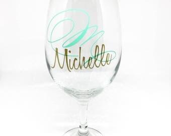 Personalized Monogram & Name Wine Glass, 20oz