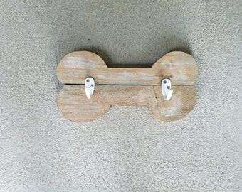 Dog Bone White Washed Barnwood Leash Holder