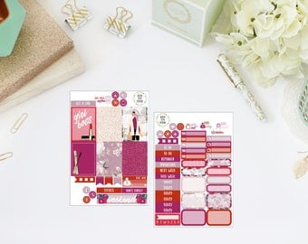 25% OFF SALE (no coupon needed) - Girl Boss Tiny Kit - Vertical Planner Stickers (Weekly Sticker Kit) - For Use With Erin Condren LP