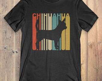 Chihuahua Dog T-Shirt Gift: Vintage Style Chihuahua Silhouette