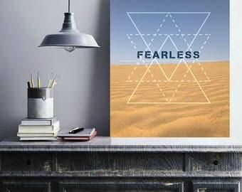 Fearless, motivational art, desert print, blue sky photography, photography print, wall art, home decor, printable, digital prints
