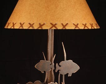 "FREE SHIPPING: Buy 2 Shades and Save, 16""Oilcraft Laced Shade. Lodge, Log Cabin, Rustic, Deer, Moose, Bear, Elk, Tree lamp."