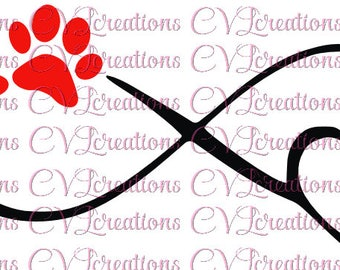 Infinity with paw and heart PNG DXF SVG
