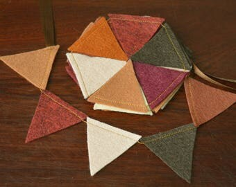 Mini Felt Bunting, Mini Felt Garland, Wall Hanging, Home Decor, Brown, Wine, Fall Bunting, Autumn Garland, Mini Pennant, Nature-Inspired