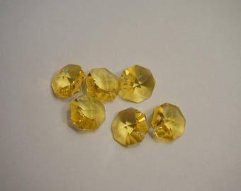 Pendants 6 Octagon yellow - 1 hole